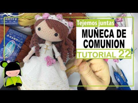 ( poner pelo amigurumi ) Como tejer muñeca de comunión paso a paso ❤ 22 ❤ ESCUELA GRATIS AMIGURUMIS