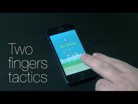 Flappy Bird - как бить рекорды? Two fingers tactics!