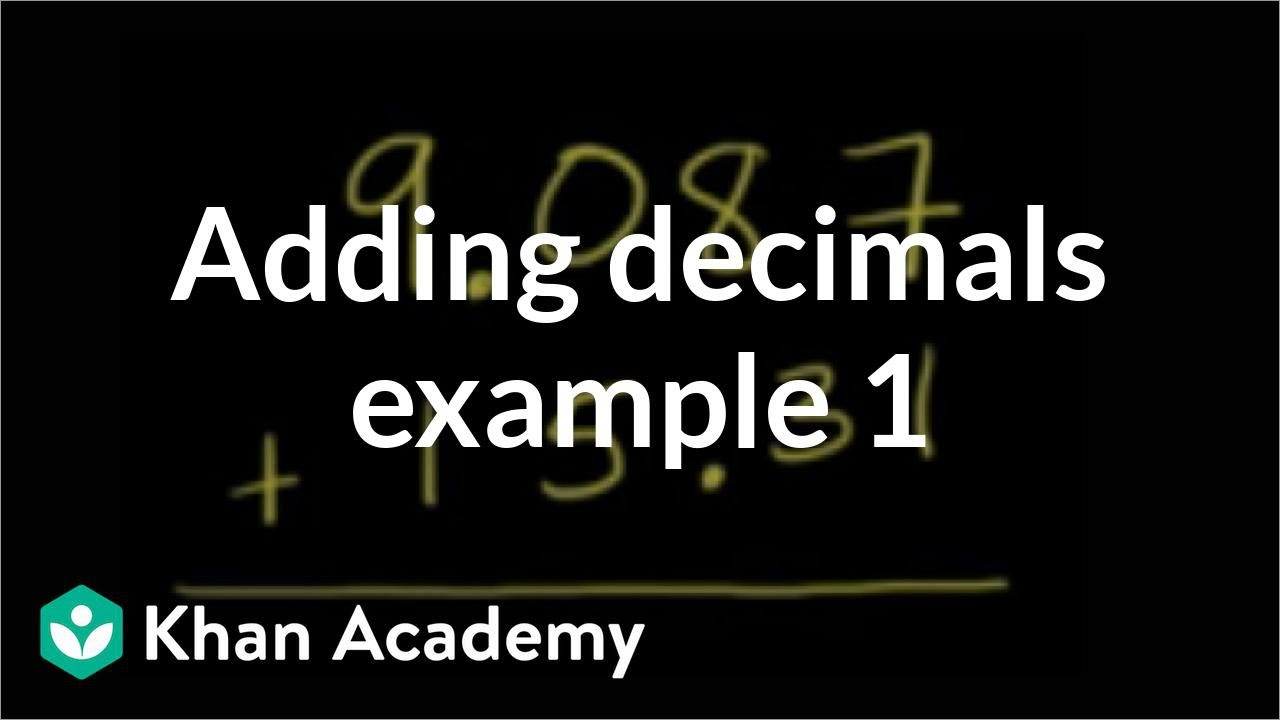 medium resolution of Adding decimals: 9.087+15.31 (video)   Khan Academy