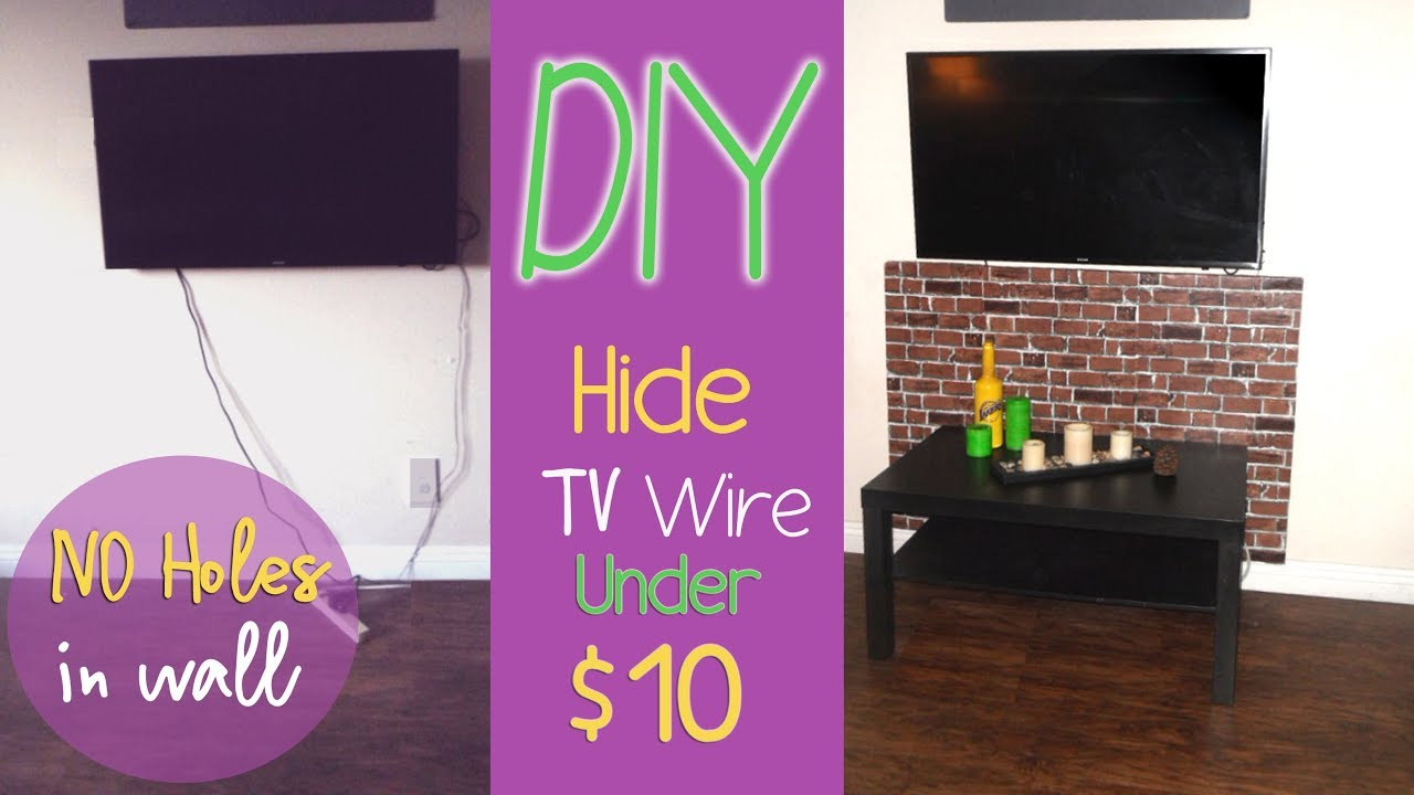 DIY How To Hide TV wires Cable Under $10 No Holes Step by Step