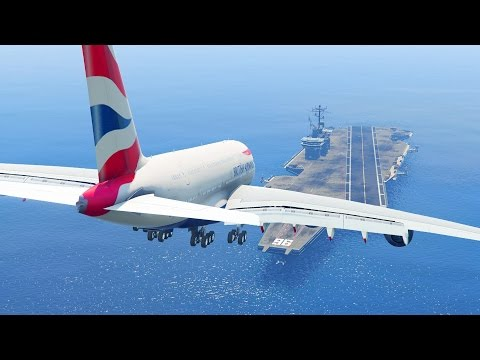GTA 5 - LANDING GIGANTIC A380 ON THE AIRCRAFT CARRIER (GTA 5