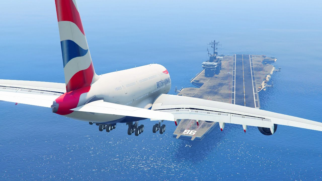 maxresdefault gta 5 landing gigantic a380 on the aircraft carrier (gta 5 funny,Funny Airplane Landing