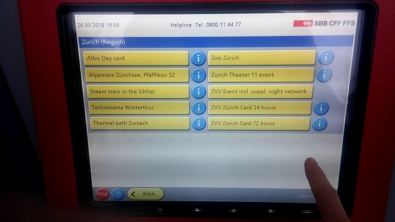 Zürich Card 24h - how to purchase via SBB ticket machine ...
