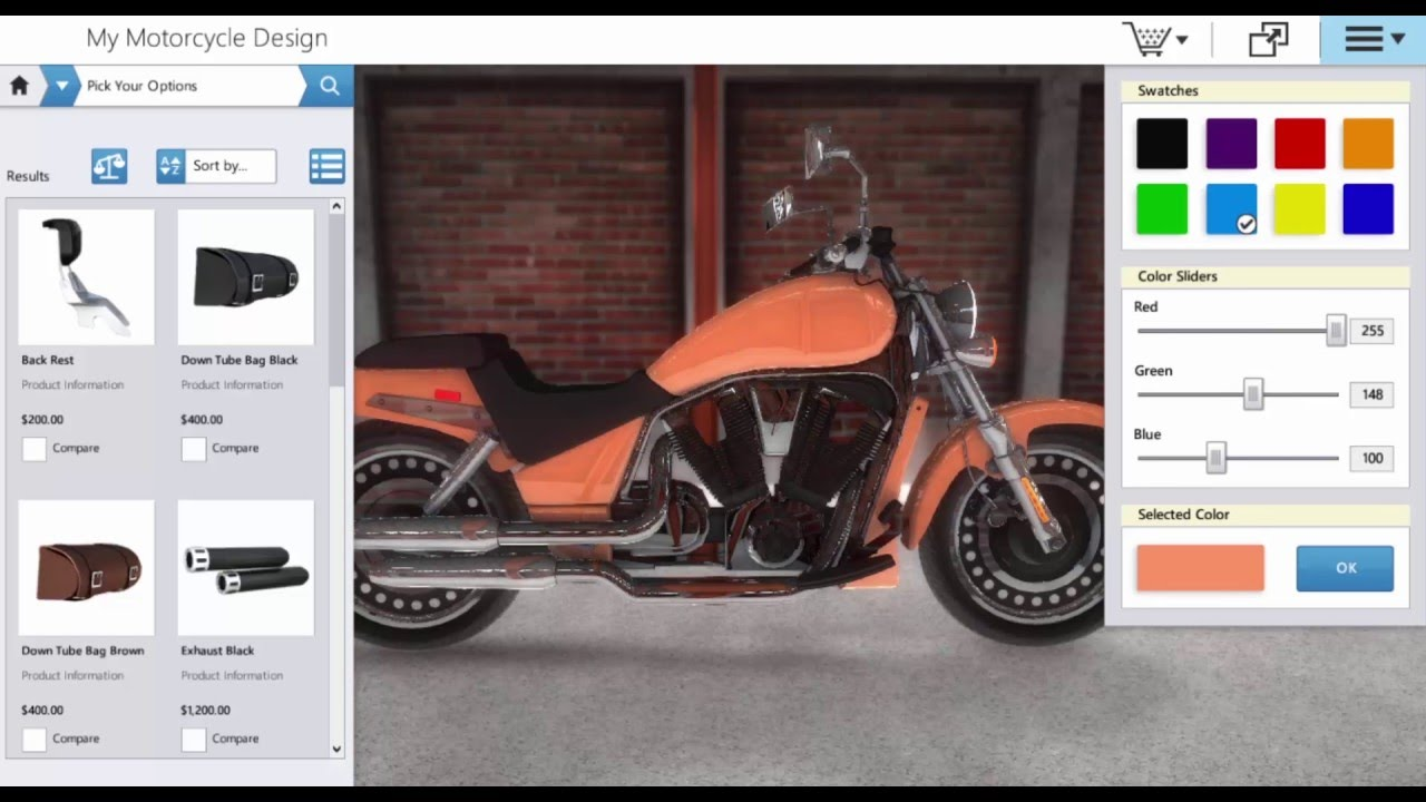 Interactive Motorcycle 3d Designer And Configurator Software For Manufacturers Youtube