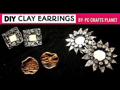 3 DIY Clay earrings | How to make oxidised earrings at home from clay| DIY oxidised earrings making