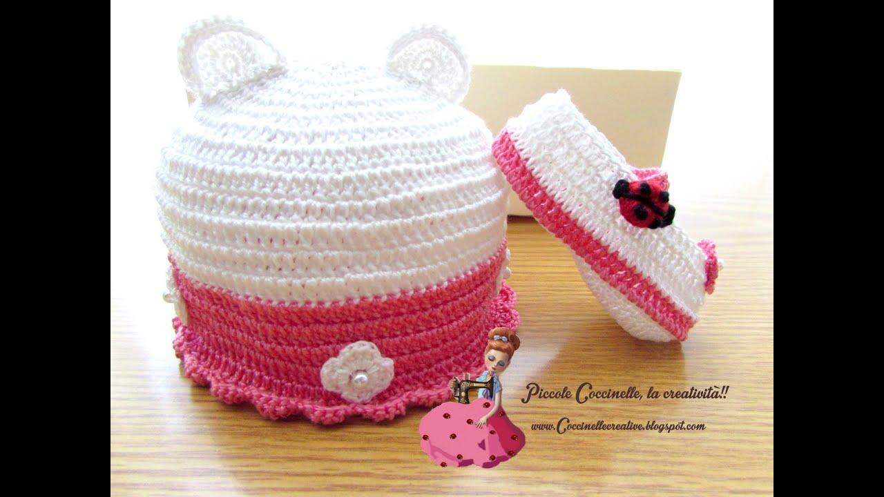 Cappellino E Scarpette Per Bimba Realizzati A Mano Ad Uncinetto Coccinelle Creative Blog