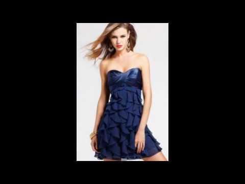 Модные вечерние платья синего цвета