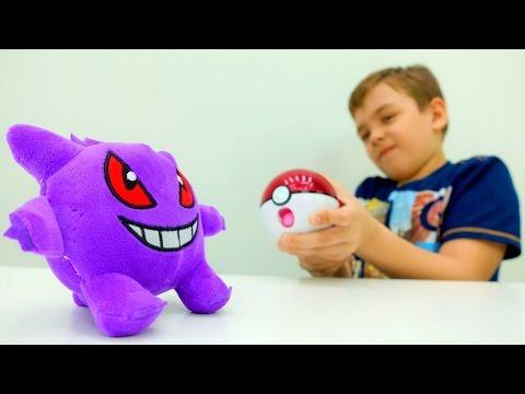 #Покемоны: детское видео игрушки Покемон ГО и #игробой Глеб. Генгар напал на город
