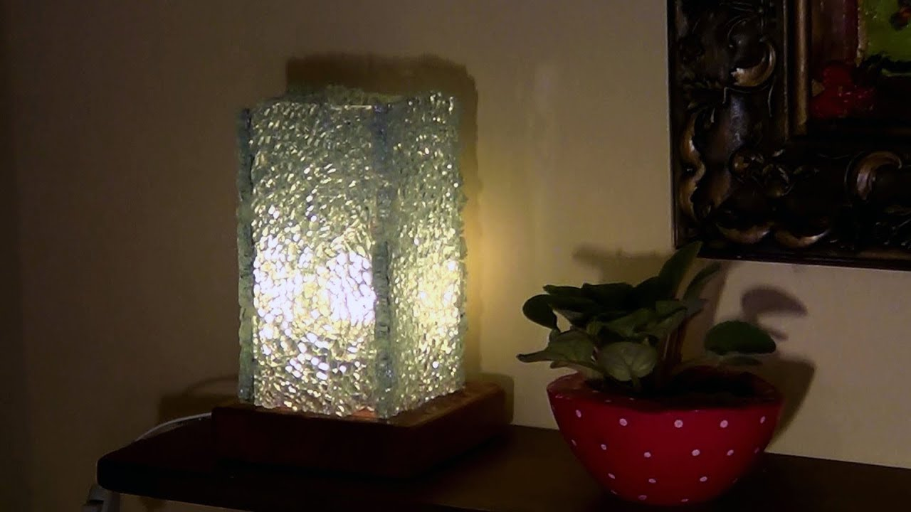 DIY  Abajur de cacos de vidro temperado  Lamp Toughened Glass shards  Lmpara de vidrio templado  YouTube