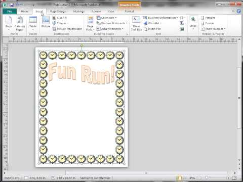 Publisher 2010 Lesson2  BorderArt, Copy, Flip, Text box