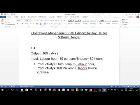 OPERATIONS MANAGEMENT 1 - Chapter 1: Single factor productivity (Part 1)