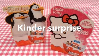 Unpacking / unwrapping Kinder surprise Hello Kitty and The Penguins of Madagascar