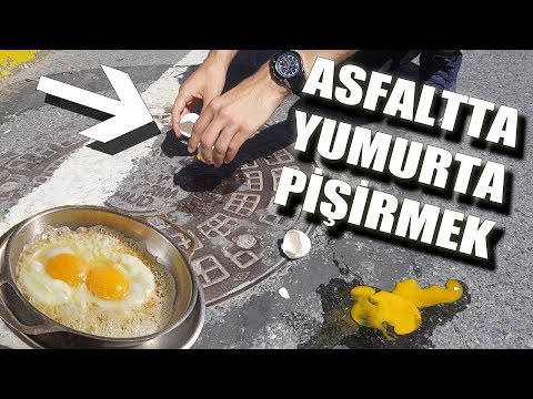 Eggs on asphalt Cook ( English Subtitle )