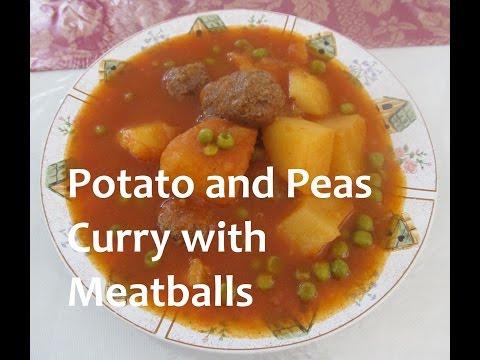 Iraqi Potato and Peas Curry with Meatballs/ مرقة البطاطة والبزاليا مع كرات اللحم/ recipe#164