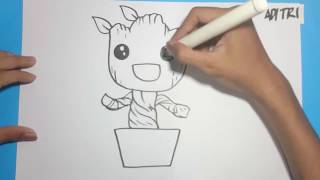 Cara Menggambar BABY GROOT | How to Draw Baby Groot Guardians of The Galaxy | Avengers Infinity War