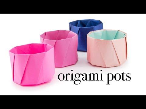 Round Origami Pot Tutorial - Cup / Vase - Paper Kawaii