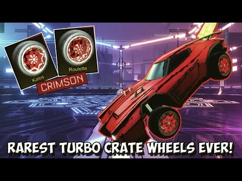 RED/CRIMSON PAINTED KALOS & ROULETTE WHEELS IN A TRADE! | Rocket League Turbo Crate's Exotic Wheels!