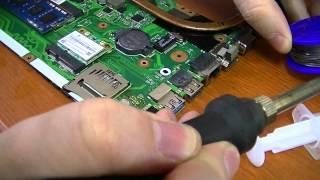 Ремонт ноутбука: пайка микросхемы в QFN корпусе.