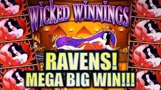 ★ HUGE MEGA BIG WIN!! ★ WICKED WINNINGS II & III - RAVENS!! Slot Machine Bonus (Aristocrat)