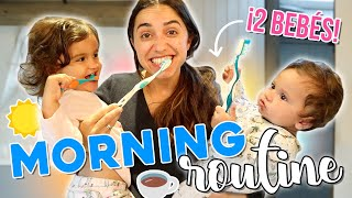 MORNING ROUTINE con 2 BEBÉS 👶🏻👶🏻 | RUTINA REAL | JustCoco
