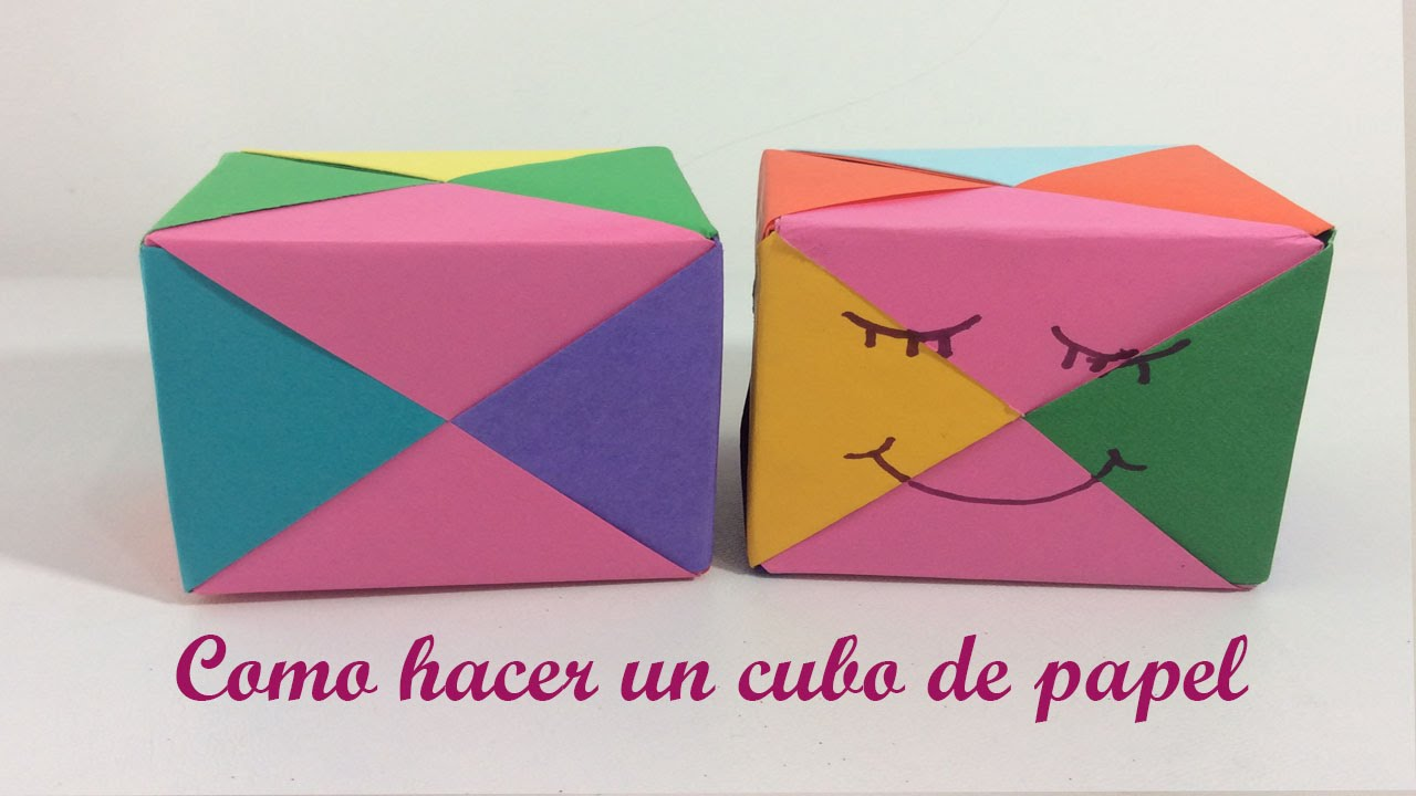 Como hacer un cubo de papel figura geometrica youtube for Como forrar un mueble con papel
