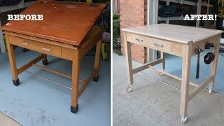 Strip Furniture: Don't Paint This Gorgeous Solid Oak Drafting Table!   Thrift Diving