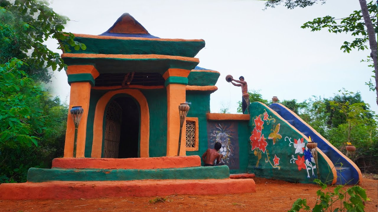 [ Full ] Build Creatively Colors Mud House Design And Swimming Pool On The House