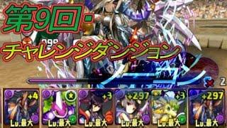 【パズドラ】第9回チャレンジダンジョンLv10 闇アヌビスPT ノーコン