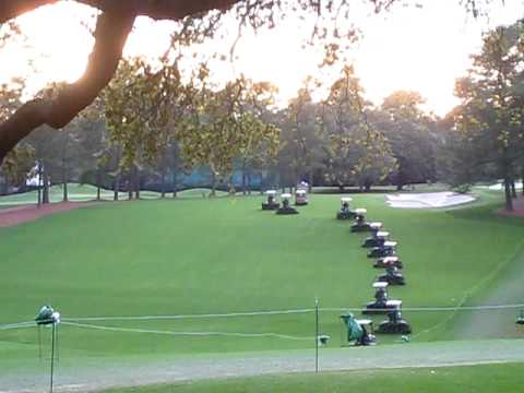 Cutting the #1 Fairway at Augusta National