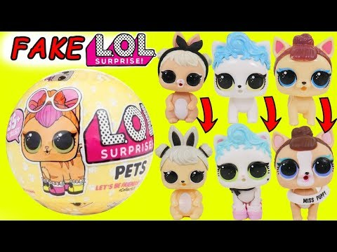 Fake LOL Surprise Dolls Pets Dress Up Egg + LQL Lil Sisters School Bus, Confetti Pop Wrong Fashion!