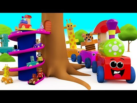Colors for Children to Learn with Wooden Animals Toy Train Tree Toy Set 3D Kids Toddler Educational