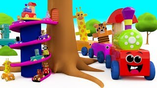 Wooden Animals Cars Toy Train Tree Wooden ToySet 3D Learn Colors for Kids Children Toddler Education