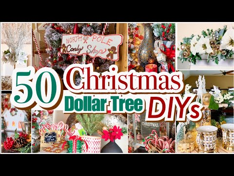 50 CHRISTMAS DIY DOLLAR TREE DECOR CRAFTS! CENTERPIECE, WAGON,TREE, ORNAMENTS,