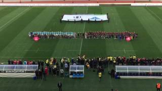 Home crowd sings Georgian national anthem before the rugby Europe match Georgia - Russia.