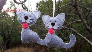 Игрушки из фетра своими руками. Котик из Фетра / Cat Felt  DIY Tutorial