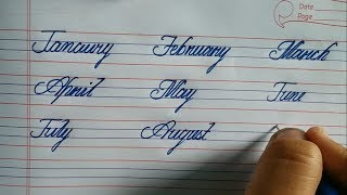 January, february cursive writing learn calligraphy