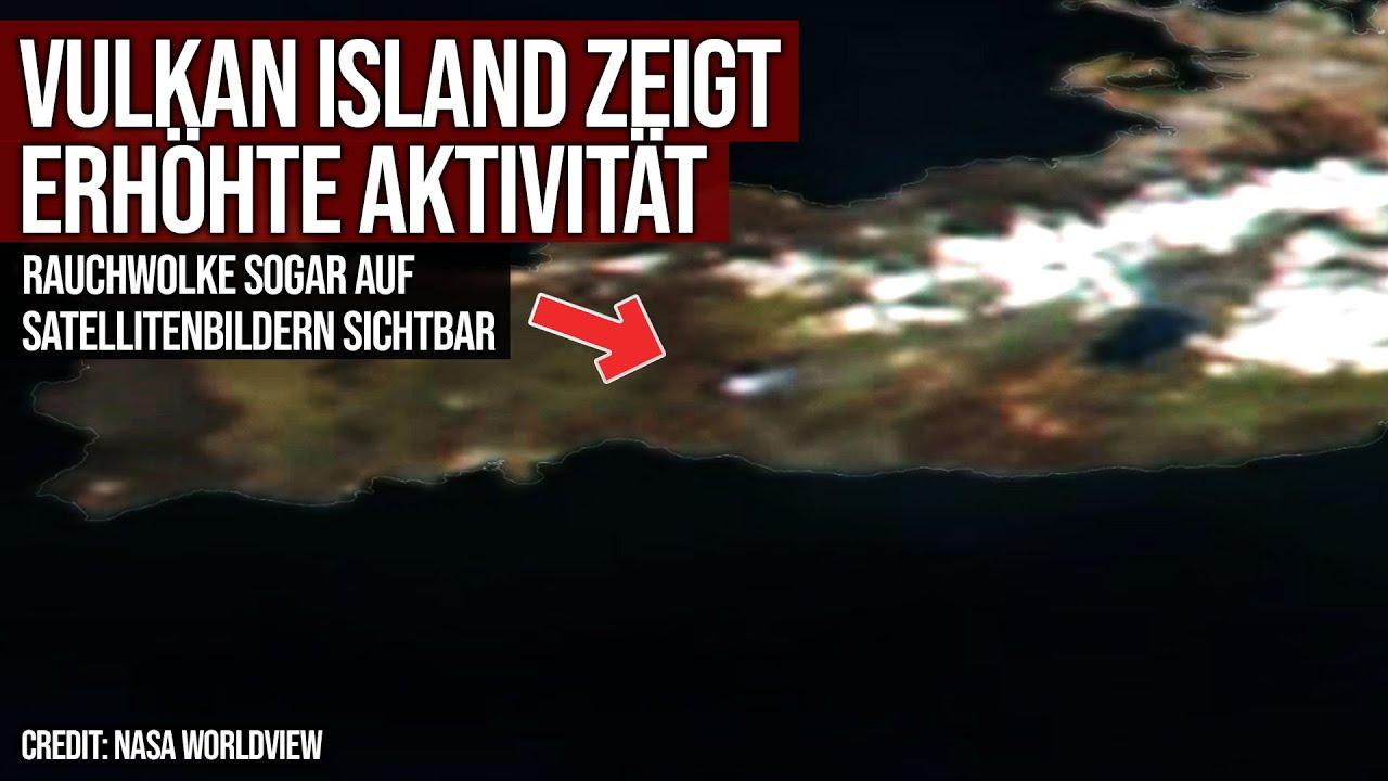 Vulkan Island - Erhöhte Aktivität - Satellitenaufnahmen der Rauchwolke