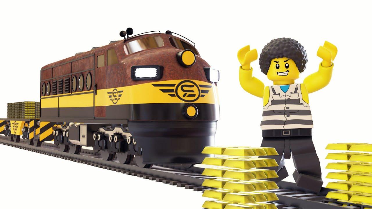 Lego Gold Train Fail - Police thief cartoon for children - Choo choo train kids videos