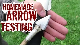 Testing Homemade Bows And Arrows On A Piece Of Meat