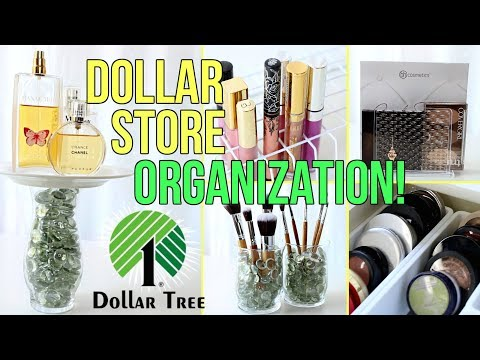 14 Clever DOLLAR STORE Makeup Organization Hacks!
