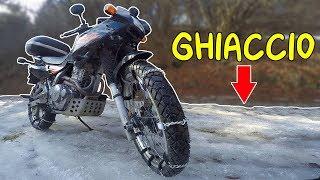 IN MOTO SUL GHIACCIO CON LE CATENE !!