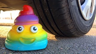 Crushing Crunchy & Soft Things by Car! EXPERIMENT CAR vs RAINBOW POOP