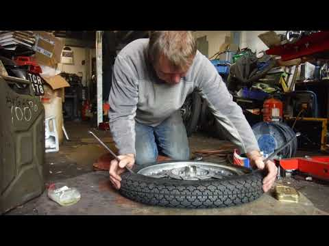 Fitting A Motorcycle Tyre And Tube At Performance Classics.