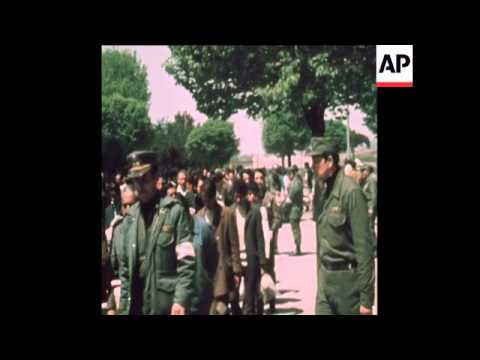 SYND 14-10-73 PRISONERS IN STADIUM HELD SINCE ALLENDE OVERTHROW