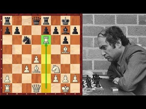 Absolutely Insane Double Rook Sacrifice By Mikhail Tal