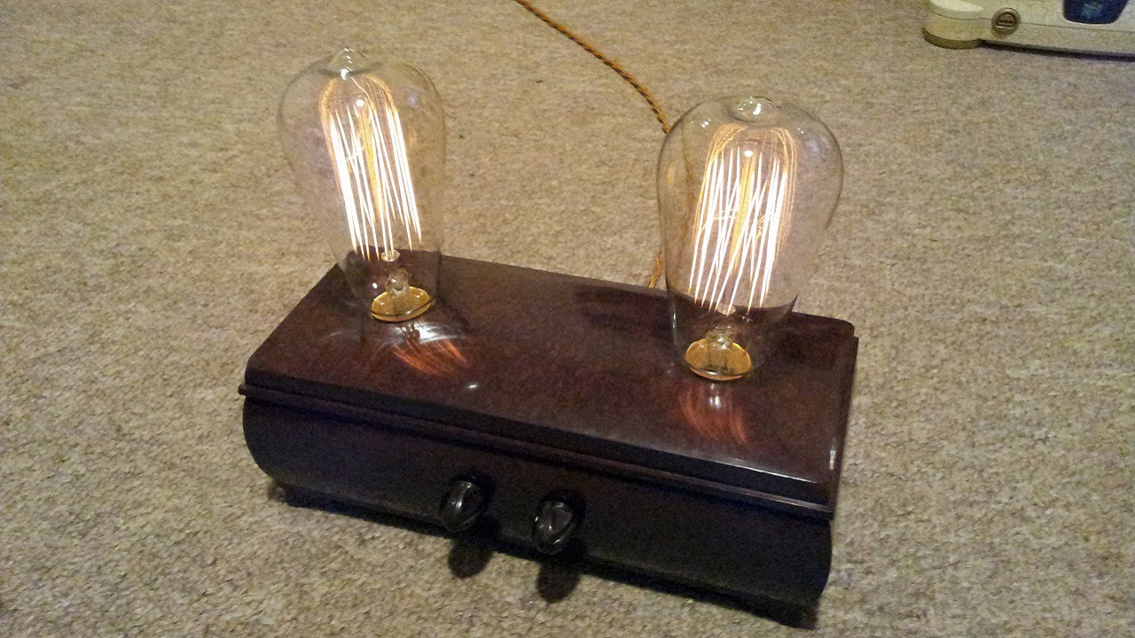 Great Custom Bakelite Cigar Box Lamp With Vintage Squirrel Cage Bulbs.   YouTube