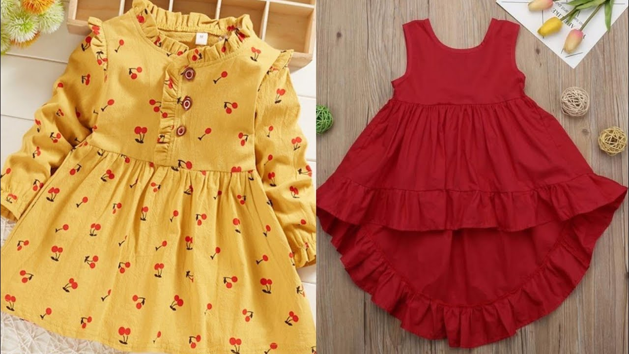 beautiful and stylish easy to make baby top /baby frock design ideas