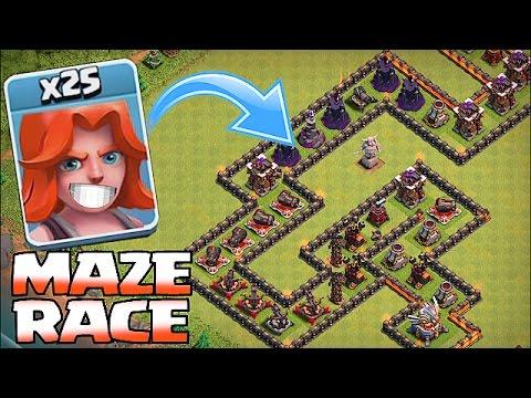 Clash Of Clans - TH8 TROLL MAZE BASE!!! (Valks,Giants & Pekkas)