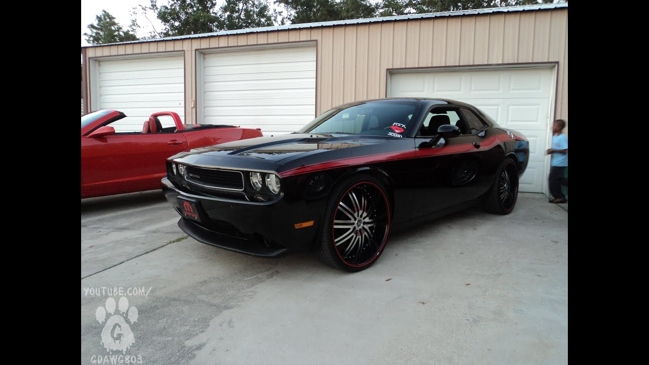 Black And Red Challeger On 24s Bat96chevy Cookout Youtube