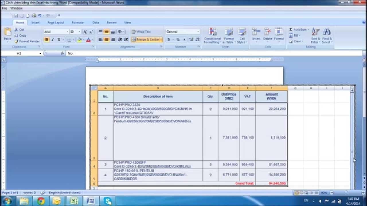 Cách chèn bảng tính Excel vào trong Word (How to insert Worksheet Excel into Word 2007)